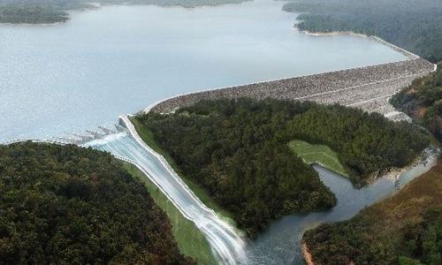 Hình mô phỏng đập nước thuỷ điện Xe Pian - Xe Namnoy khi làm việc năm 2019. Ảnh: PNPC