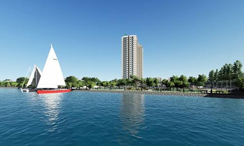 Phối cảnh dự án Vista Riverside, hướng nhìn từ sông Sài Gòn.