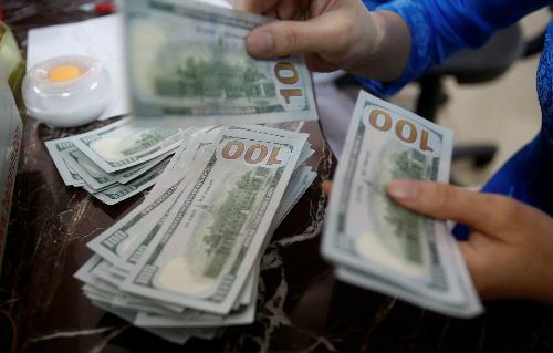 Một nhân viên ngân hàng đếm tiền USD ở Hà Nội. Ảnh: Reuters