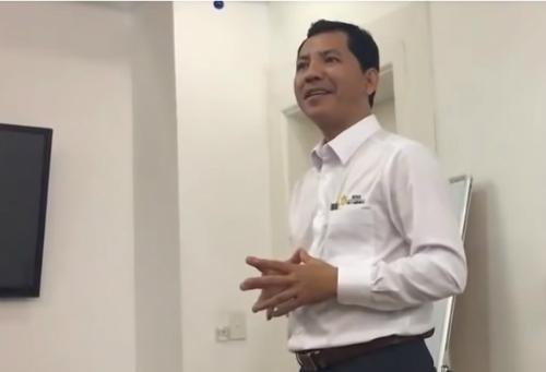 Ông Lê Minh Tâm trong 1 buổi gặp gỡ nhà đầu tư vào tháng 4/2018.