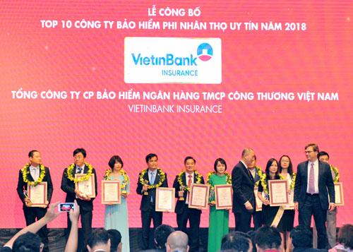 Bảo hiểm VietinBank là 1 trong các đơn vị giành giải Top 10 Công ty Bảo hiểm danh tiếng nhất Việt Nam 2018.