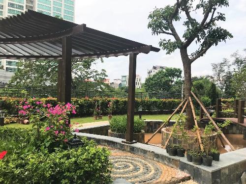 Hệ thống phong cảnh sân vườn ở D. Le Roi Soleil đã sẵn sàng phục vụ cư dân. Website: quangan.vn