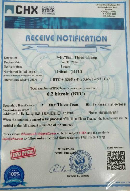 Phiếu thông báo lãi tài sản thừa kế sau 4 năm ký gửi Bitcoin của cha anh Toàn.