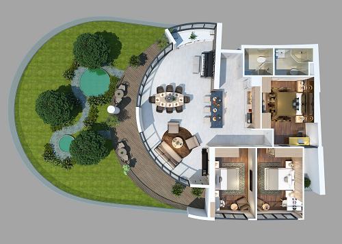 Phối cảnh căn hộ chung cư penthouse có sân vườn riêng ở dự án DIC Vũng Tàu Gateway.