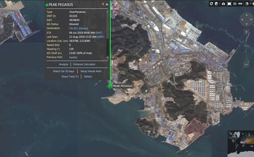 Bản đồ vị trí cho thấy Peak Pegasus đã cập cảng Đại Liên.