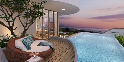 Phối cảnh hướng nhìn ra biển từ villa Ramada Hakuna Hồ Tràm Strip. Website. Hotline g liên hệ Hotline: 08 98 223 223 hoặc Email: info@kahunahotram.com