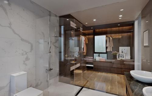 Với mặt sàn rộng rãi, chủ sở hửu có thể kiến trúc phòng tắm như 1 spa thu nhỏ để thư giãn sang mỗi ngày làm việc.
