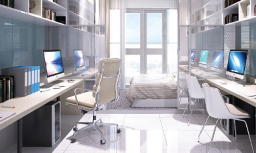 Bố trí căn hộ officetel tại TP HCM.