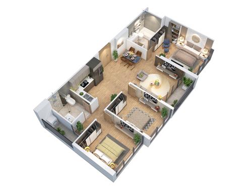 Thiết kế căn hộ 3 phòng ngủ tại dự án Eco-Green Saigon