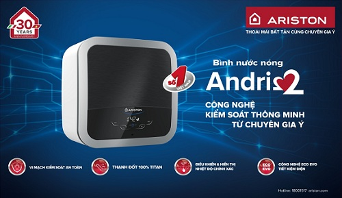 Bình nước nóng Andris2 ứng dụng công nghệ tân tiến.