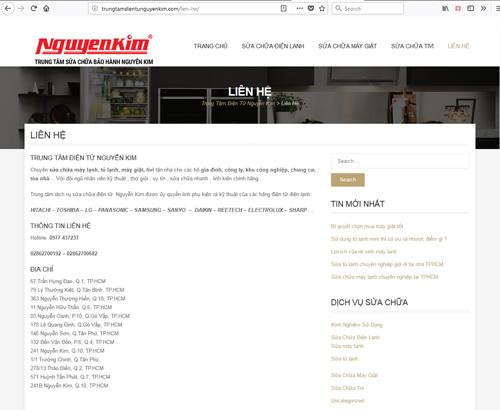 Website giả mạo là trọng điểm bảo dưỡng của Nguyễn Kim để lừa người tiêu dùng. Ảnh chụp màn hình