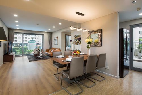 Không gian mở ở căn hộ cao tầng dự án.