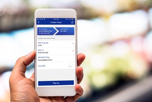 Giao diện chi trả hóa đơn trên BIDV SmartBanking.