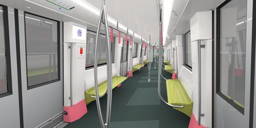 Đoàn tàu metro tuyến số 3 được kiến trúc thích hợp có nhu cầu hành khách. Tay nắm trên tàu được kiến trúc dựa trên nghiên cứu kỹ nhân khẩu học, thích hợp có chiều cao và kiểu dáng của người Việt.