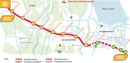 Tuyến metro số 3, đoạn Nhổn - ga Hà Nội đi qua 1 vài quận: Nam Từ Liêm, Bắc Từ Liêm, Cầu Giấy, Ba Đình, Đống Đa, Hoàn Kiếm, gồm 12 nhà ga có 8 ga trên cao và 4 ga ngầm. Tổng chiều dài của tuyến là 12,5km, từ Nhổn đến ga Hà Nội trên các con phố Trần Hưng Đạo. Nguồn: ADB-MRB.