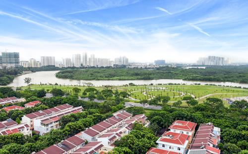 Tiến độ xây dựng thực ở ở công viên bờ sông có diện tích 88.900 m2.