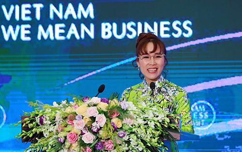 Bà Nguyễn Thị Phương Thảo đại diện cho doanh nghiệp tư nhân Việt Nam chia sẻ kinh nghiệm kinh doanh thành công tại WEF ASEAN 2018.