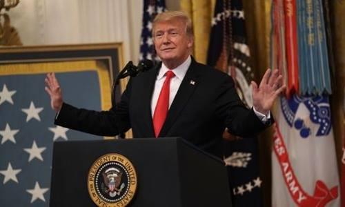 Tổng thống Trump phát biểutại Nhà Trắng. Ảnh: AFP.