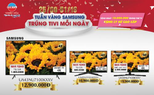 Mua TV Samsung, khách hàng sẽ được giảm giá và nhận nhiều quà tặng.