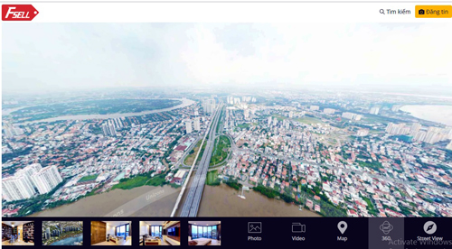 Ảnh 360 độ trên giao diện website nhadat.vnexpress.net.