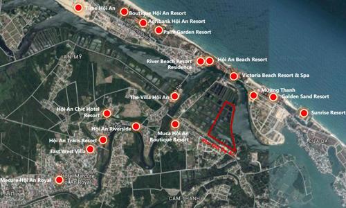 Đa phần các cơ sở lưu trú, bất động sản du lịch trong khu vực nội thị Hội An (nằm trong hình chữ nhật đỏ) vẫn còn ở quy mô vừa và nhỏ.