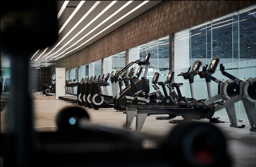 Khu vực tập gym với trang thiết bị hiện đại kèm theo đội ngũ huấn luyện viên chuyên nghiệp.