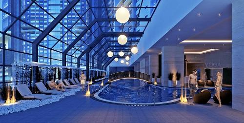 Gold Tower tích hợp nhiều tiện ích như bể bơi bốn mùa trong nhà, phòng tập Gym, Yoga, spa, rạp chiếu phim CGV...