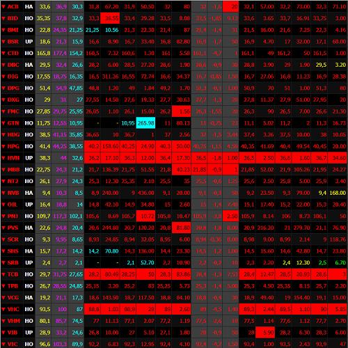 Những cổ phiếu lớn trên HoSE đều giảm mạnh trong phiên sáng nay khi lệnh bán ồ ạt đẩy vào thị trường. Ảnh: SSI