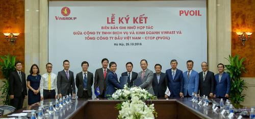 VinFast hợp tác PV Oil triển khai trạm sạc và thuê pin cho xe điện