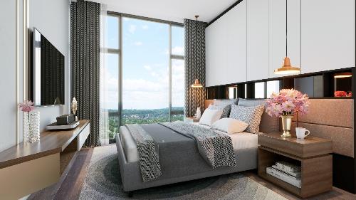 Nội thất phòng ngủ với màu sắc trung tính, tạo cảm giác ấm áp.