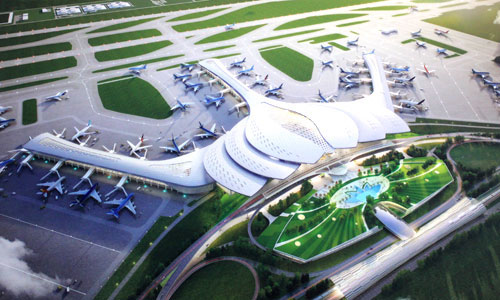 Phối cảnh sân bay Long Thành theo thiết kế hình hoa sen. Ảnh:PV
