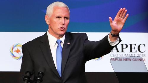 Phó tổng thống Mỹ Mike Pence tại Hội nghị thượng đỉnh CEO APEC 2018. Ảnh: Reuters