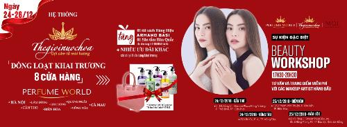 Khách hàng có cơ hội nhận quà tặng khi mua sắm tại 8 cửa hàng mới của Thế Giới Nước Hoa.