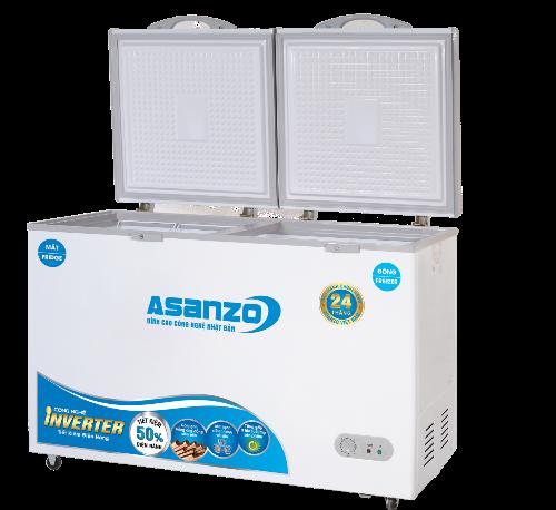 Tủ đông Inverter Asanzo có bảng điều khiển thấp và bánh xe giúp người dùng dễ dàng điều chỉnh và di chuyển.