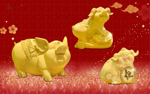 Mỗi sản phẩm mỹ nghệ vàng mô phỏng linh vật của năm Kỷ Hợi mang ý nghĩa sung túc, đại cát đại lợi trở thành tâm điểm của thị trường quà tặng Tết năm nay. Thiết kế đẹp mắt, chất lượng uy tín với độ bền vĩnh cửu, ý nghĩa phong thủy sâu sắc là những yếu tố giúp các sản phẩm này được  giữ vị trí đắc địa trong giỏ quà Tết của người dân