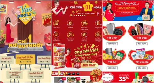 Giao diện các gian chợ Tết onlinetrên một số ứng dụngthương mại điện tử.