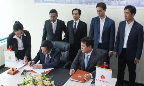 Toàn cảnh lễ ký kết giữa Hưng Lộc Phát Corp và công ty Lotte E&C.
