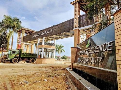 Cổng chính dự án Khu dân cưVinaconex 3 Phổ Yên Residence.