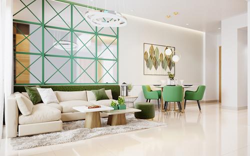 Khu vực phòng khách của căn hộ mẫu 2PN - 2WC hiện đại, đáp ứng cuộc sống tiện nghi, đầy đủ cho cư dân PiCity Thạnh Xuân. Tham khảo thông tin tại website: picity.com.vn.Hotline liên hệ: 1900 633 331.