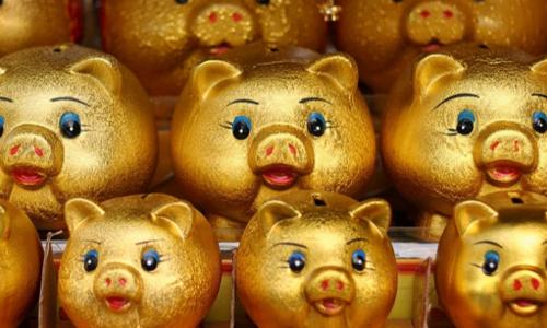 Lợn đất được bày bán trong một cửa hàng ở Seoul (Hàn Quốc). Ảnh: Be Bouchard