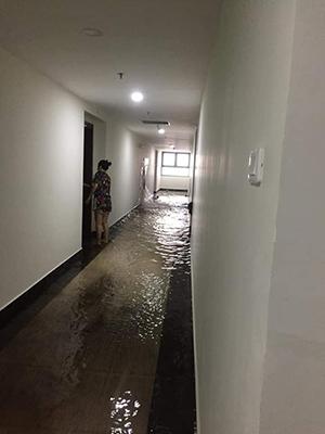 Toàn bộ hành lang tầng chung cư bị ngập nước. Ảnh: Cư dân cung cấp