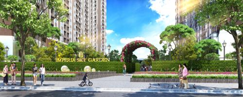 Cổng vào dự án Imperia Sky Garden trên trục đường Minh Khai.