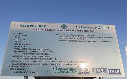 Bảng công bố đầu tư dự án muối mỏ kali tại Lào của Vinachem.