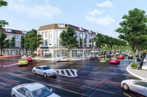 Phối cảnh một dự án khu dân cư - thương mại đang phát triển ở Hậu Giang.