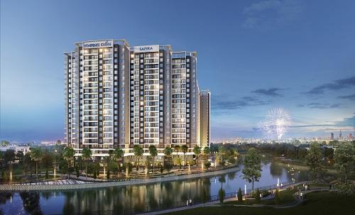 Địa thế ven sông góp phần làm đậm nét không gian sinh thái tại khu căn hộ Safira, quận 9, TP HCM.