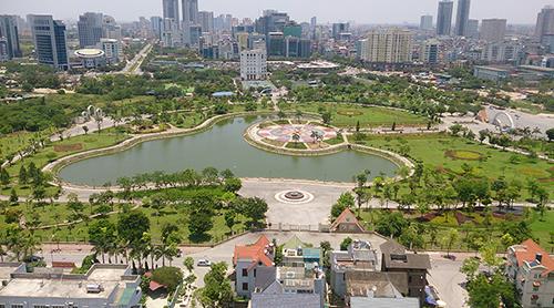 Toàn cảnh Công viên Cầu Giấy rộng hơn 10ha nằm trên địa bàn phường Dịch Vọng, Cầu Giấy. Ảnh: UBND quận Cầu Giấy