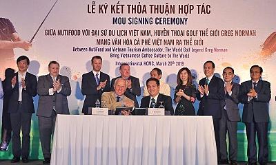 NutiFood hợp tác huyền thoại golf Greg Norman quảng bá cà phê Việt - Kinh Doanh