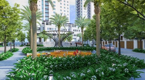 Để tạo mô trường sống trong lành, thoáng đãng, Tây Hồ Residence thiết kế riêng khu công viên thu nhỏ giữa lòng dự án.