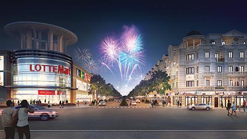 Phối cảnh dãy nhà phố thương mại được thiết kế tối ưu hóa tiềm năng kinh doanh, mang đến cho cư dân, khách hàng một sự trải nghiệm về một không gian sống và mua sắm mới, cùng phong cách kiến trúc châu Âu tân cổ điển sang trọng.