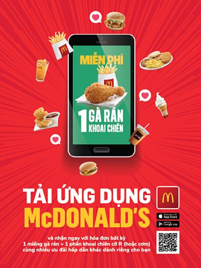Ứng dụng McDonald's App (GMA Lite) với các thông tin về khuyến mãi, tuyển dụng, menu, giao hàng và phản hồi online.